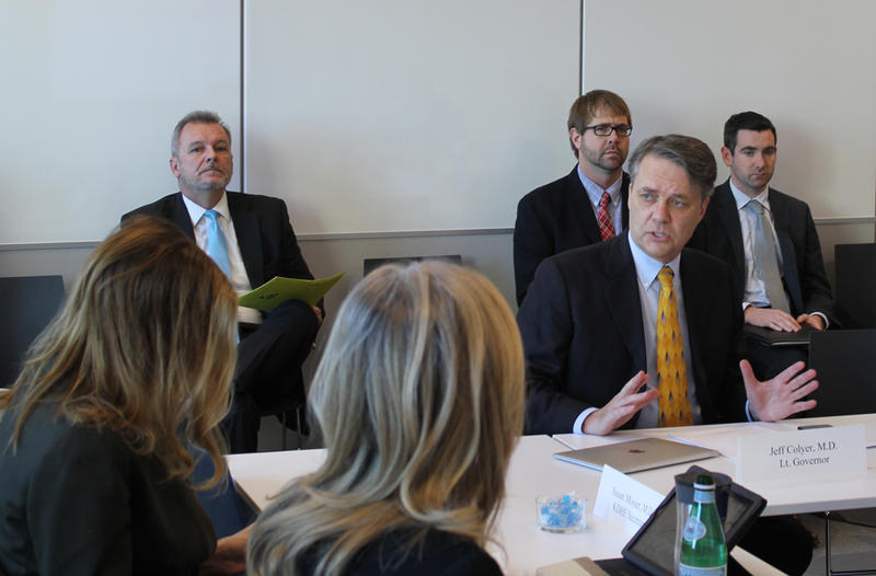 Lt. Gov. Jeff Colyer, right, leads the final meeting of the Rural Health Working Group on Tuesday in Topeka. The nine-member group will present a set of recommendations on rural health problems to the Kansas Legislature before the 2017 session.