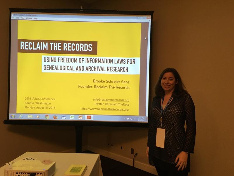 Brooke Schreier Ganz, founder of Reclaim the Records, spoke at a genealogy conference in Seattle in August.