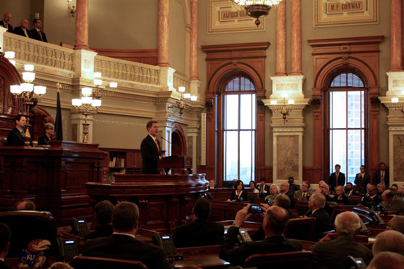 During his State of the State speech Tuesday, Kansas Gov. Sam Brownback asked legislators to come up with a plan by the end of January to fill a $350 million hole in this year's budget.