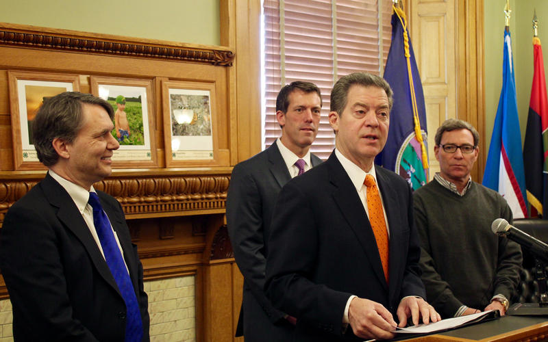 From left: Lt. Gov. Jeff Colyer, Kansas Farm Bureau CEO Terry Holdren, Gov. Sam Brownback and Overland Park Regional Medical Center CEO Kevin Hicks.