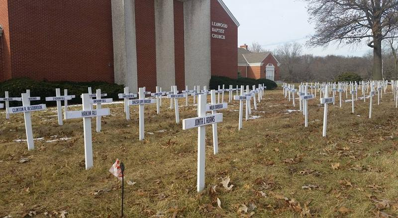 For the fifth year in a row, the Leawood Baptist Church put up white crosses in their front lawn on State Line Road. The display goes up at the end of each year, and each cross represents a life lost to homicide.