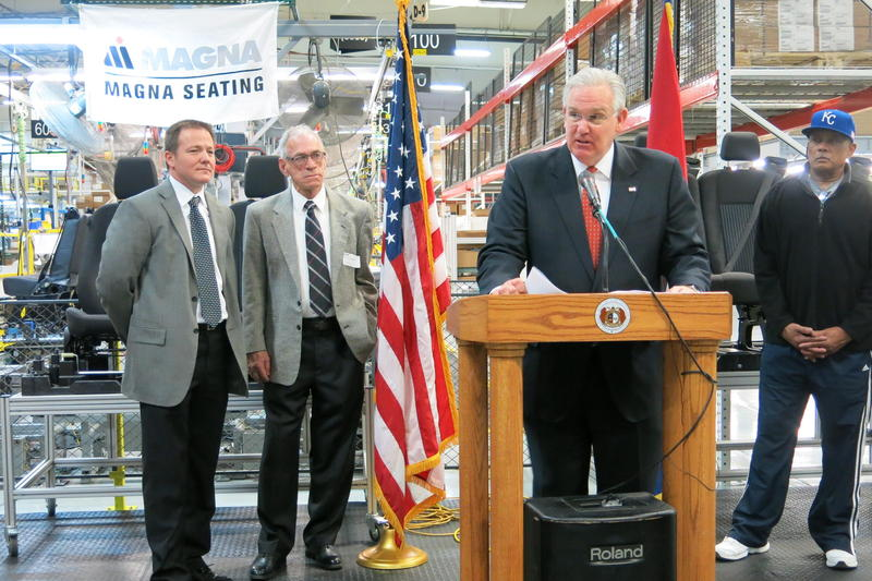 Former Missouri Gov. Jay Nixon makes a jobs announcement at Magna Seating in February 2015. Nixon prided himself on holding the line on right-to-work legislation while growing the state's automotive manufacturing sector.