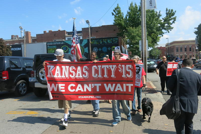 Kansas City workers rally in September 2015 for a $15 an hour minimum wage. Missouri law bars setting local wages higher than the state minimum, $7.70 an hour.