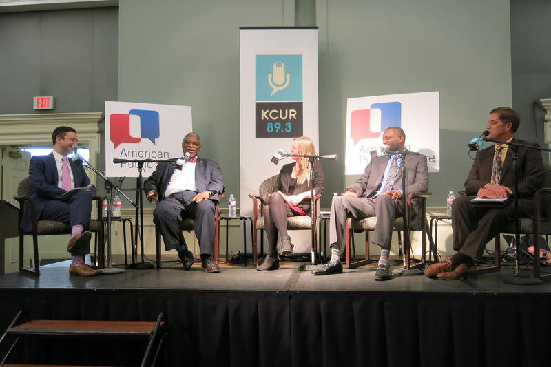 KCUR's Brian Ellison, left, moderates a discussion with Kansas City Mayor Sly James, Citizens of the World Executve Director Kristin Droege, KCPS Supt. Mark Bedell and Shawnee Mission Supt. Jim Hinson.