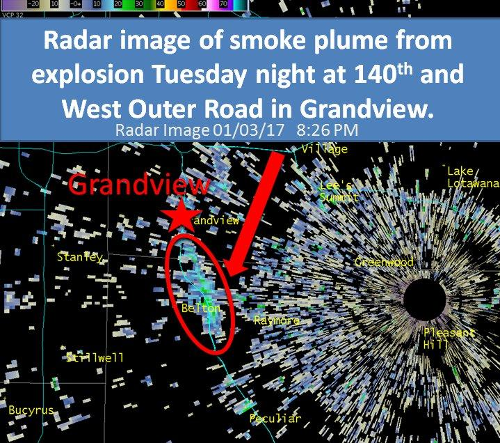 The smoke plume caused by the explosion in Grandvieiw was visible on radar.