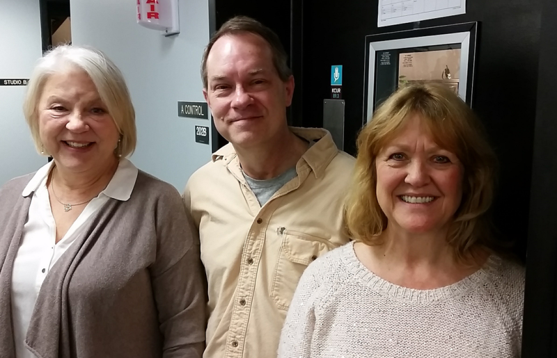 Kathleen Warfel (left), David Fritts and Jan Rogge, stars of the Kansas City Actors Theatre's 'My Old Lady,' at KCUR's studios after appearing on 'Up to Date.'