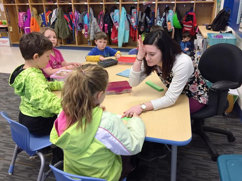 Allison Theno is in her first year teaching kindergarten in the Basehor-Linwood School District, one of seven new teachers hired last year. Educators in Kansas are worried about possible mid-year cuts by the Legislature.