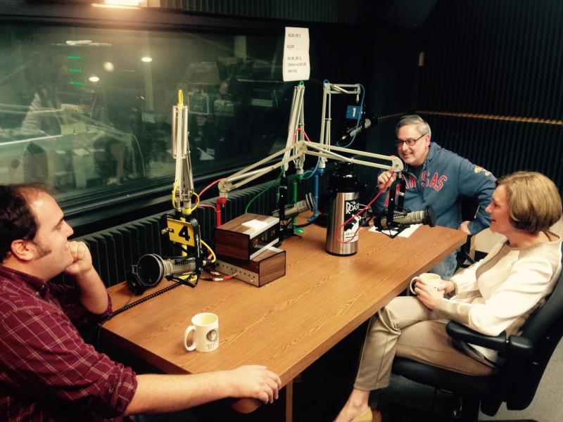 Clockwise around the table: Sam Zeff, Sen. Barbara Bollier, and Bryan Lowry