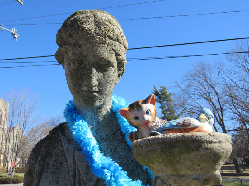 The statue of Hebe off 52nd and Brookside, just off the Trolley Track Trail. She has some new feline friends as of a few days ago.