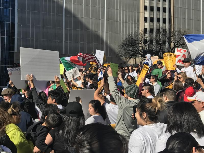 "Hundreds rally on the steps of the City Hall in Kansas City, Mo. Thursday morning in support of ""A Day Without Immigrants."""