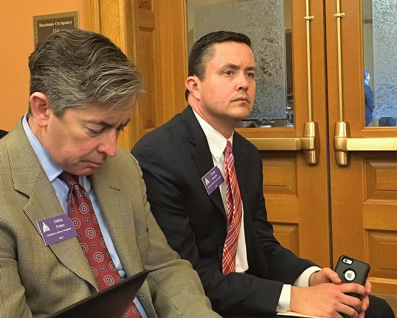 Chad Austin, right, vice president of government relations for the Kansas Hospital Association, told legislators Monday that the Medicaid cuts have hurt medical providers.