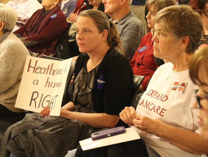 A crowd of approximately 200 filled the north wing of the Statehouse for a rally before the House Health and Human Services Committee convened a hearing on a bill that would expand eligibility for KanCare, the state's privatized Medicaid program.