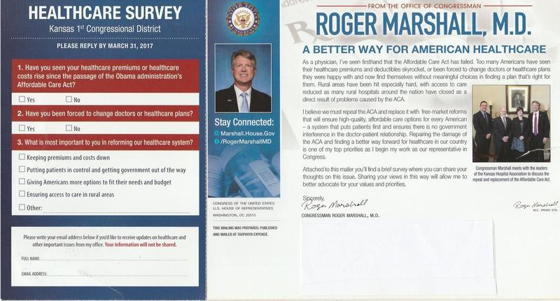 Big First Congressman Marshall sent this survey mailer to 50,000 residents of his district.