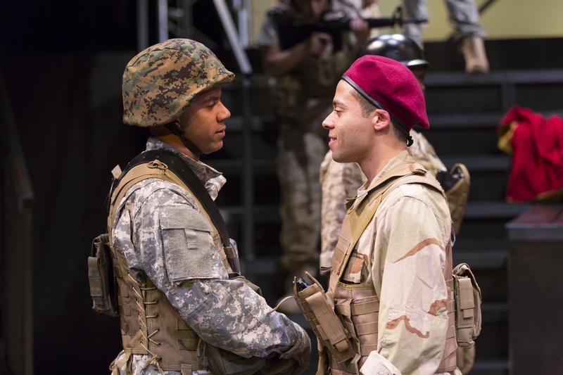 William Sturdivant as Caius Cassius and Jonathan-David as Mark Antony in The Acting Company's 'Julius Caesar'
