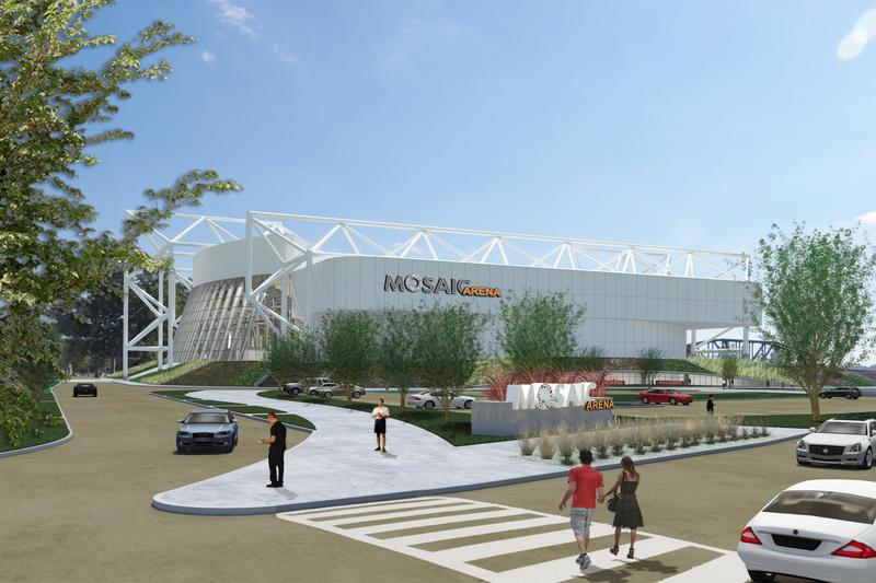 An artistic rendering of what developers plan for Kemper Arena's redevelopment. It will be renamed the Mosaic Arena.