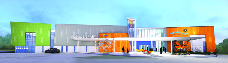An architectural rendering of the Wonderscope Children's Museum of Kansas City's co-location with the Mid-Continent Public Library in the Red Bridge Shopping Center in south Kansas City.