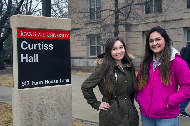 Iowa State University College of Agriculture and Life Sciences students Liz Hada, left, and Melissa Garcia Rodriguez say they have experienced racial tension in some of their classes, despite feeling generally welcomed by most students and faculty.