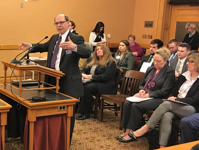 Steve Brunk, a former member of the Kansas House and now a lobbyist for the Family Policy Alliance of Kansas, spoke in favor of a resolution against physician-assisted suicide Monday before a House committee.