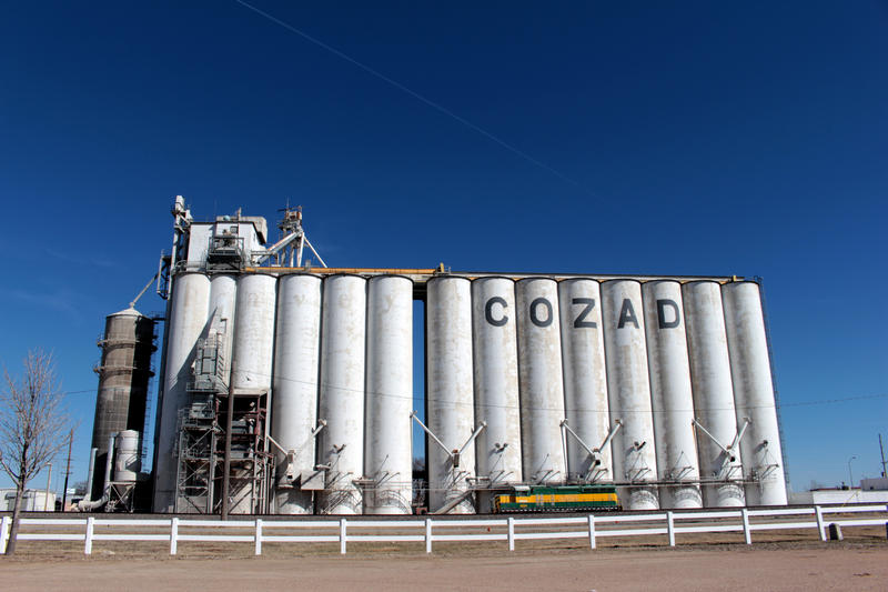 A grain elevator in Cozad, Nebraska, spells out the name of the town and represents the largest industry in the area, agriculture.