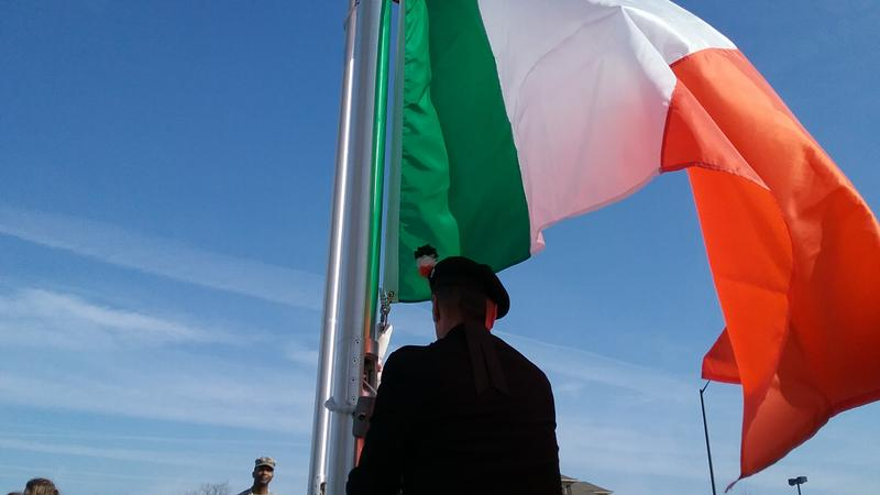 Alongside the parade route, the Kansas City Irish Center marked the occasion, and the Center's tenth anniversary, by raising both the American and Irish flags.