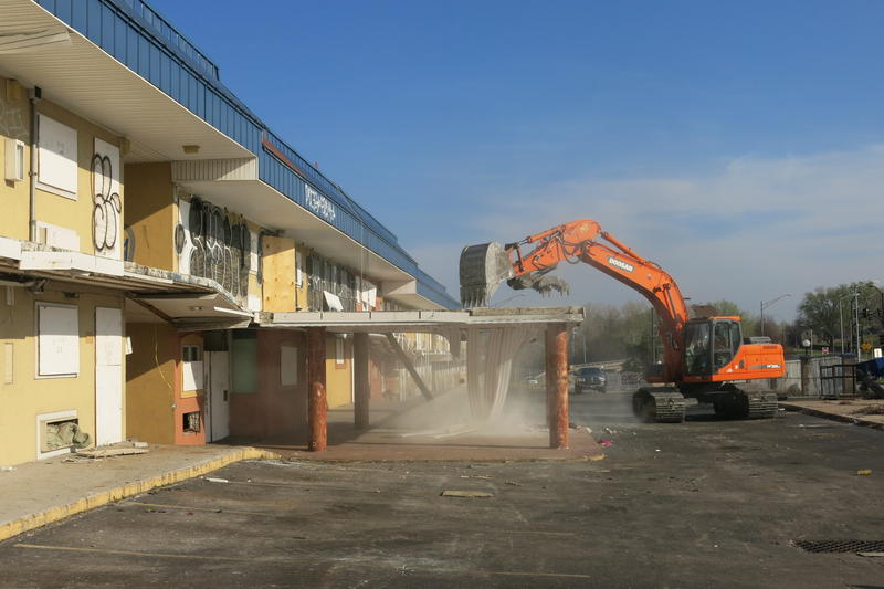 It could take up to two months to tear down the old Royale Inn. The city paid $1.8 million for the property last year and will put another $900,000 to demolition and asbestos abatement.