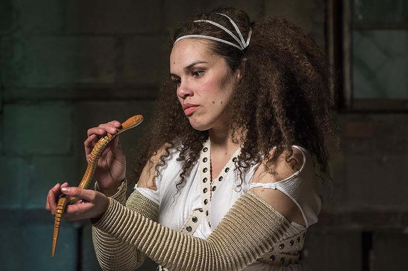 Looking death in the eye, Cleopatra (Meredith Wolfe) holds an asp, a venomous snake of the Nile, in the new play 'Death, By Shakespeare.'