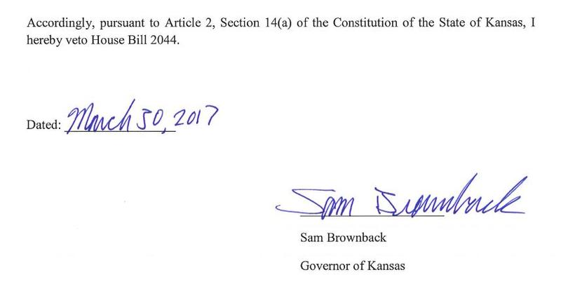 Gov. Sam Brownback on Thursday morning vetoed a bill that would expand Medicaid eligibility in Kansas.