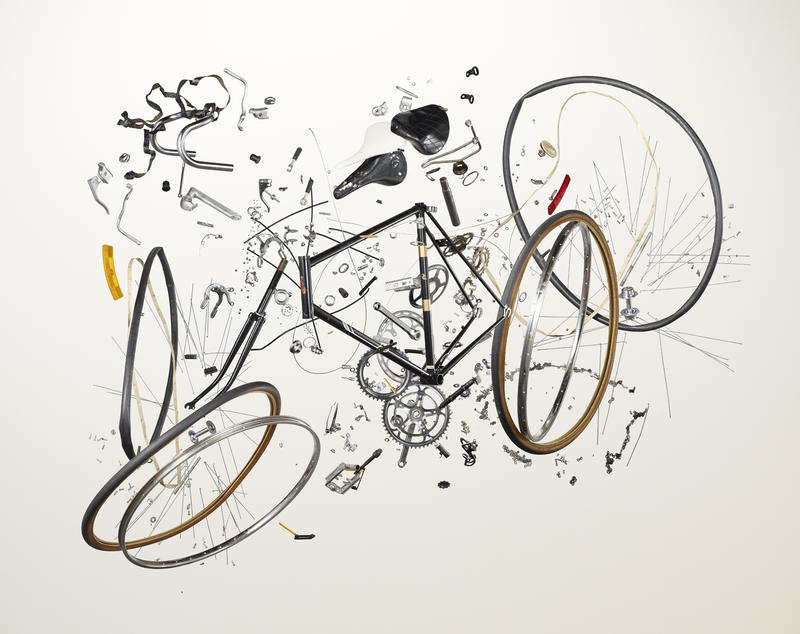 An image of a bicycle in Todd McLellan's 'Things Come Apart' project.