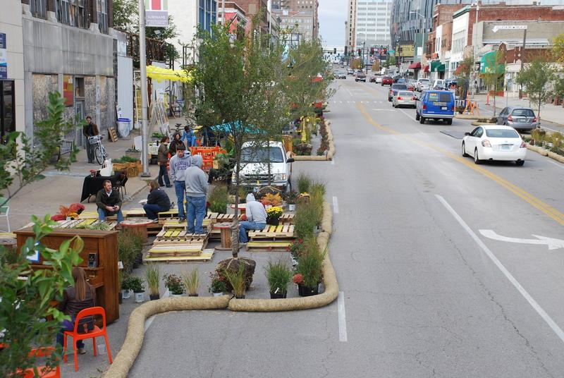 Pedestrian lanes, like the ones shown here in a 2012 project on Grand Boulevard, are part of Better Block's mission to demonstrate the benefits of urban design through temporary displays people can see and touch.