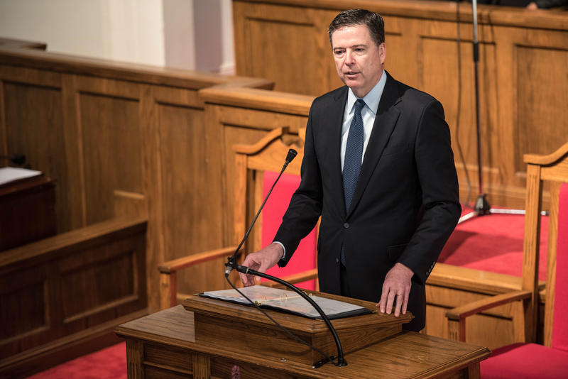 FBI Director James B. Comey provides remarks at a conference in May, 2016. Comey and the director of the National Security Agency, Admiral Mike Rogers, are among those who are being called to testify.