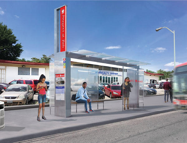 A rendering of a stop of the Prospect MAX rapid bus line, which will extend from 12th and Charlotte streets in downtown Kansas City to 75th Street and Prospect Avenue.