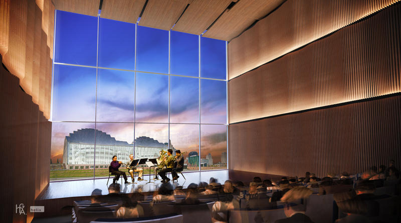 A rendering of the recital space in the proposed downtown building for the UMKC Conservatory of Music and Dance.