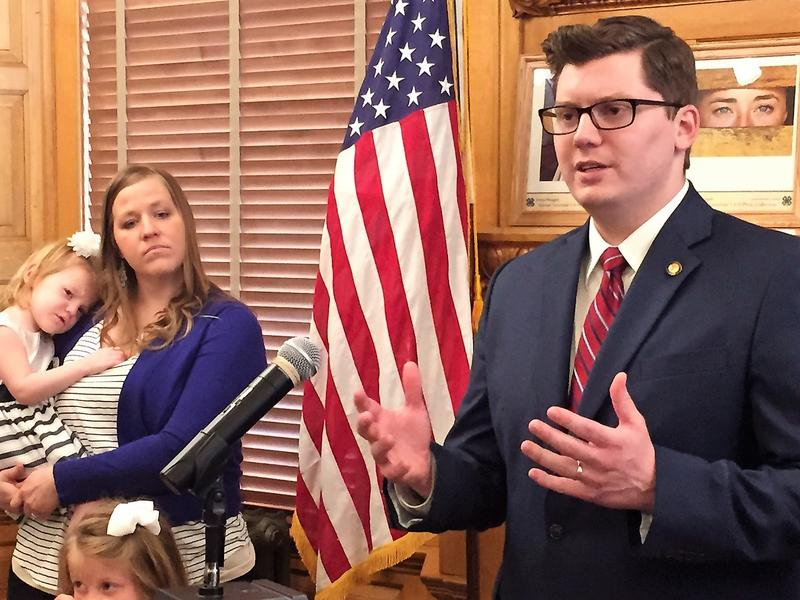 State Sen. Jake LaTurner was announced Tuesday as Gov. Sam Brownback's pick to succeed Ron Estes as state treasurer. LaTurner, of Pittsburg, has served in the Kansas Senate since 2013. At left is his wife, Suzanne.