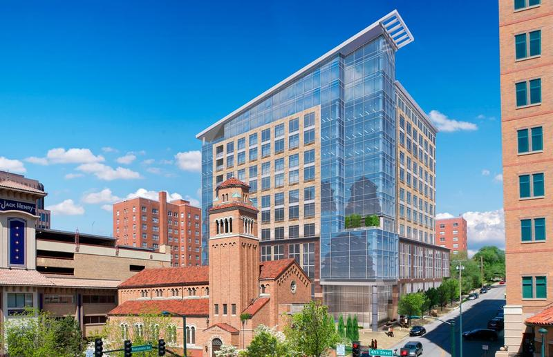 A rendering of the 14-story 46 Penn Centre project that is expected to begin construction this summer at the Country Club Plaza.