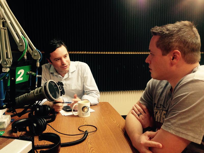 Sen. Ryan Silvey (right) talks with host Brian Ellison.