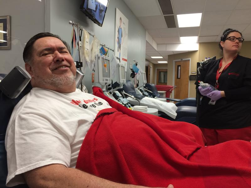 Former railroad worker Johnnie Matz has been donating blood, platelets and plasma at the Community Blood Center in Kansas City for 45 years.