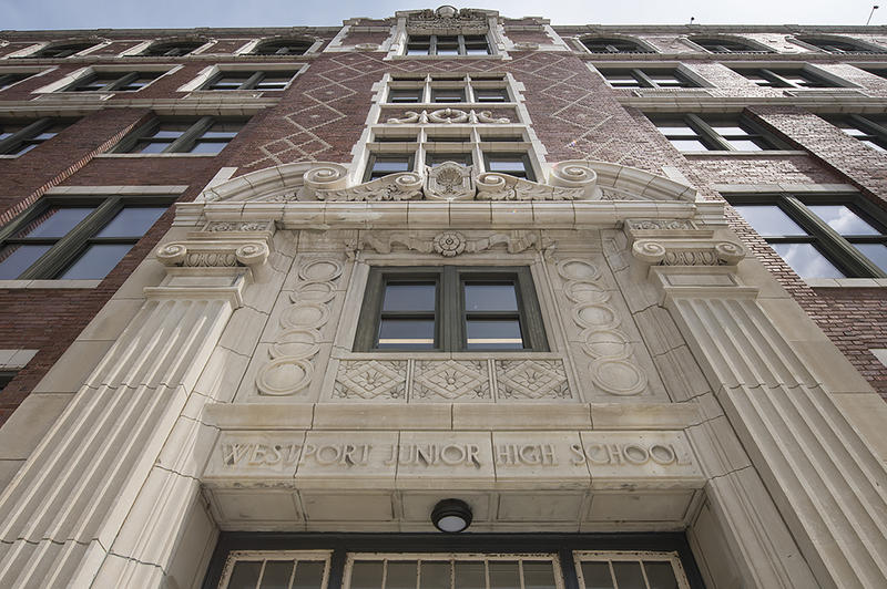 The former Westport Junior High School is the site of a partnership to create a workspace hub for new companies in Kansas City, Mo., near 39th and Main.