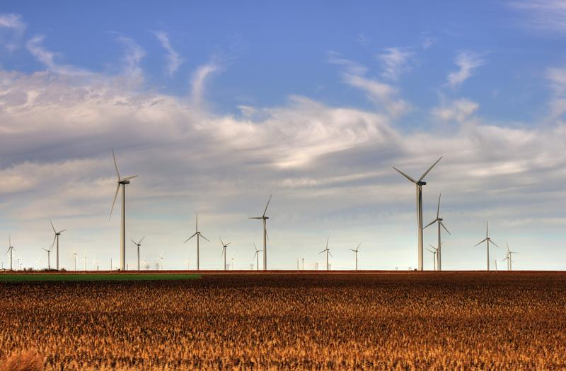The wind farm in the Smoky Hills is a prominent attraction along I-70 in Kansas. It's located north of Ellsworth, about 140 miles west of Topeka.