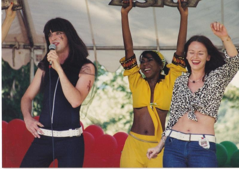 Ron Megee, Brenda Nelson and Wednesday Nowak at a Big Bang Buffet performance at a Kansas City Pride festival, circa 1993.