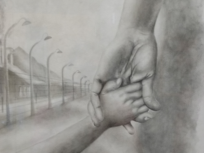 A detail of 'Endless Hope,' a 2005 piece by MCC-Maple Woods student J.T. Tanner, which now hangs in the hallway outside music instructor Jim Murray's office.