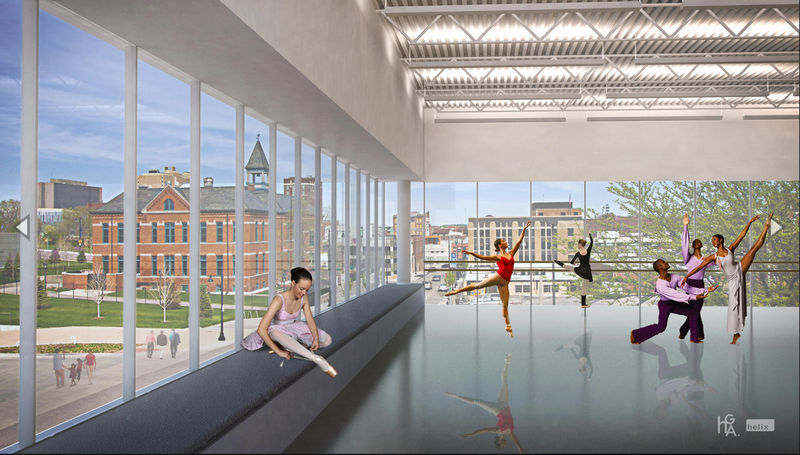 A rendering of the dance space at the proposed UMKC Conservatory of Music and Dance's Downtown Arts Campus.
