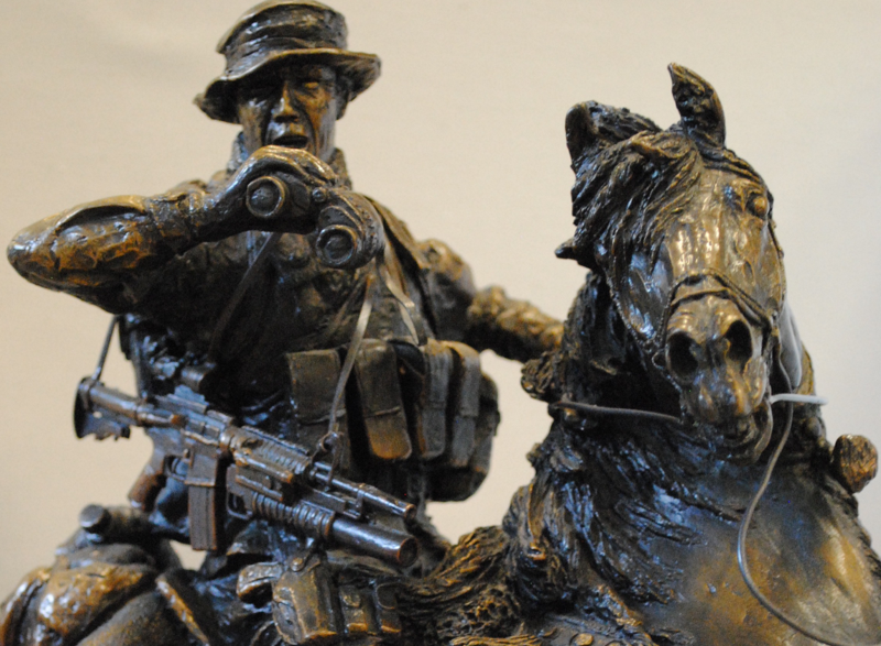 A detail of 'Special Forces Soldier on Horseback,' a sculpture by Douwe Blumberg in the Command and General Staff College's collection.