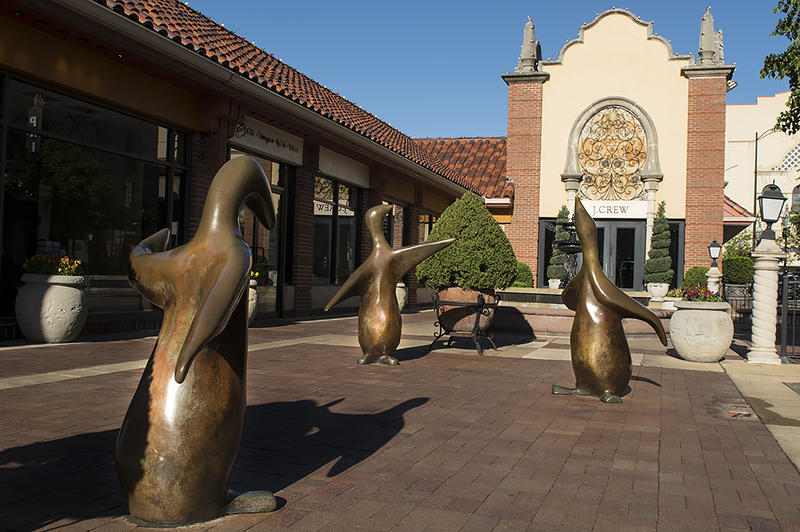'Court of the Penguins' on the Country Club Plaza, probably one of Arthur Kraft's best-known works in Kansas City. The five-foot tall bronze sculptures were cast after Kraft's death and installed in 1979.