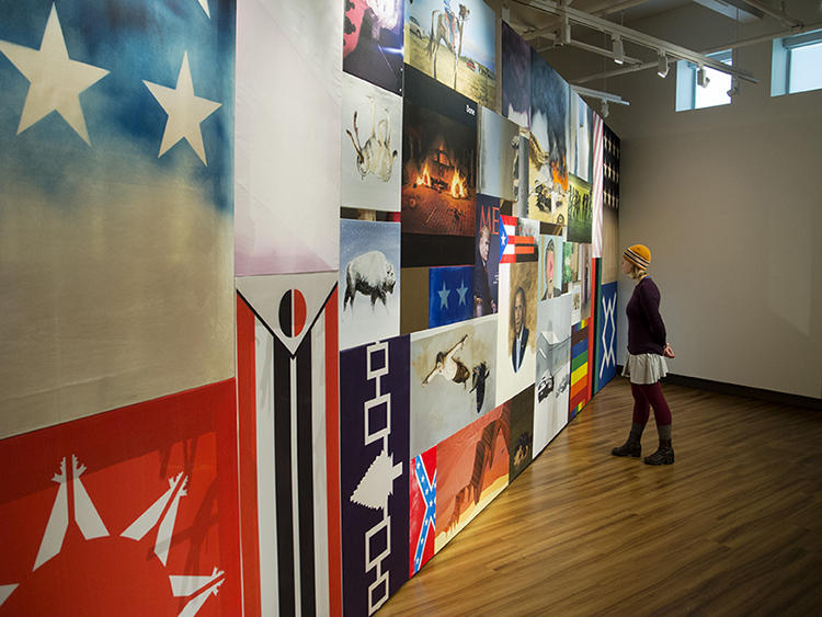 A view of the installation of 'Picture the Wall' at Western State Colorado University in Gunnison, Colorado.