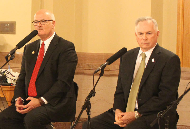 House Minority Leader Jim Ward, left, and House Majority Leader Don Hineman discussed the budget, education and Medicaid expansion during a Statehouse Blend Kansas taping Monday in Topeka.