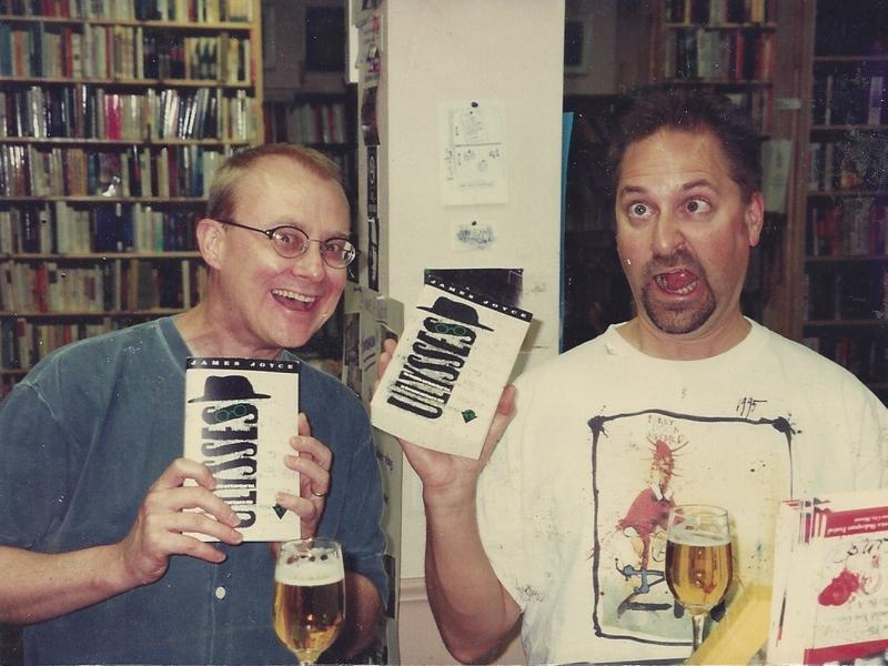 Kansas City artist Nate Fors (left) and wine expert Doug Frost, in an archival photograph that appeared in a documentary about Bloomsday.