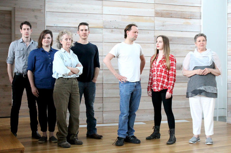 The cast for a staged reading of 'River Like Sin' (from left): Davis DeRock, Lindsay Roland, Margaret Shelby, Kyle Dyck, Joseph De Maria, Hannah Freeman and Cindy Siefers.