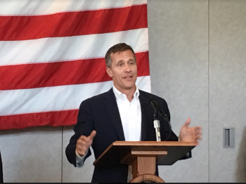 Missouri Gov. Eric Greitens, speaking at Whiteman Air Force Base Monday, before signing Missouri's Real ID bill.