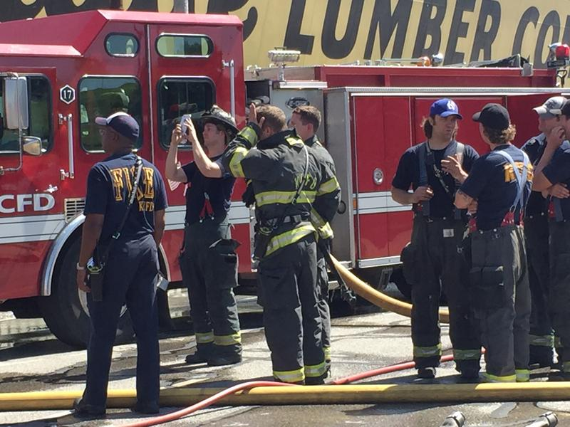 About 100 firefighters were on hand to battle the fire.