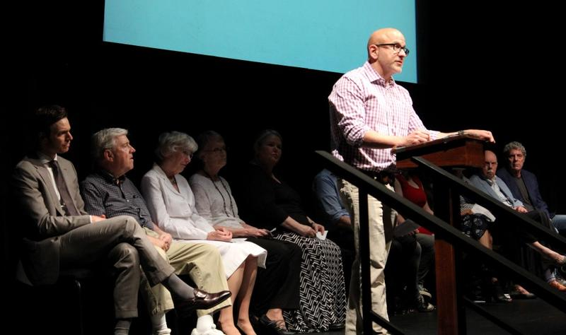 Kansas City Repertory Theatre is the professional theater in residence at UMKC. At the town hall, the Rep's artistic director Eric Rosen said, 'Our power is in our collective will,' and urged audience members to work together.